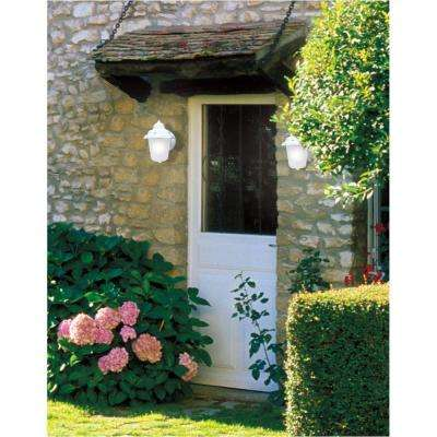 1-Light Textured White on Cast Aluminum Exterior Wall Lantern Sconce with Frosted Glass