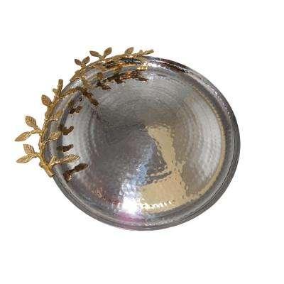 Supreme 14 in. Round Gold Hammered Tray