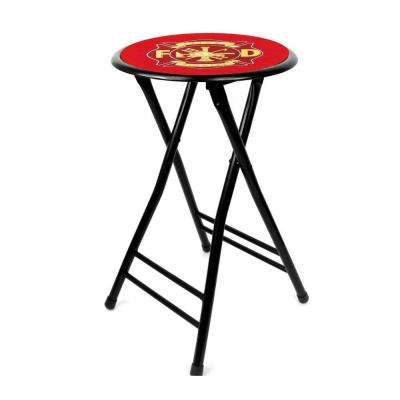 Fire Fighter 24 in. Black Cushioned Folding Bar Stool
