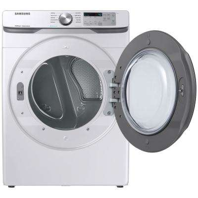 7.5 cu. ft. White Electric Dryer with Steam