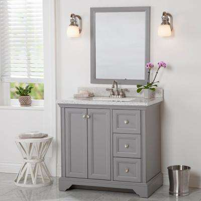Stratfield 37 in. W x 22 in. D Bath Vanity in Sterling Gray with Solid Surface Vanity Top in Silver Ash with White Sink