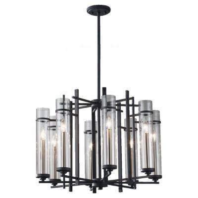 Ethan 8-Light Antique Forged Iron/Brushed Steel 1-Tier Chandelier