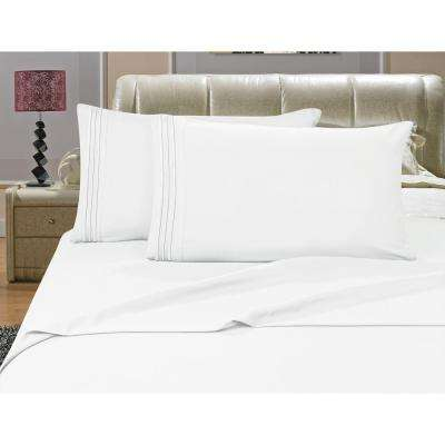 1500 Series White 3 Line Embroidered Microfiber Queen Size Bed Sheet Set