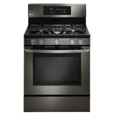 5.4 cu. ft. Single Oven Gas Range with Self-Cleaning Convection Oven in Black Stainless Steel