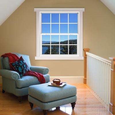 48 in. x 60 in. V-4500 Series White Single-Hung Vinyl Window with 8-Lite Colonial Grids/Grilles