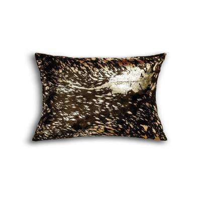 Torino Scotland Chocolate, Gold and Tan 12 in. x 20 in. Cowhide Pillow