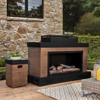 Boston 49.61 in. Brown Outdoor Steel Fireplace with Tank Storage