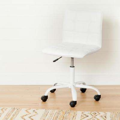 Annexe White Office Chair with Quilted Seat