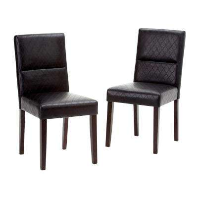 Ashford Faux Leather Parson Dining Chair Black 2-Pack