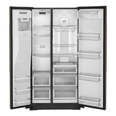 36 in. W 22.6 cu. ft. Side by Side Refrigerator in PrintShield Black Stainless Steel, Counter Depth