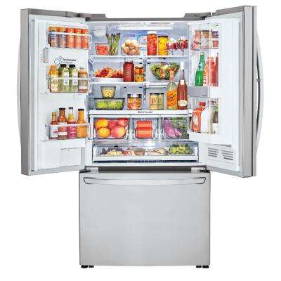 30 cu. ft. 3 Door French Door Smart Refrigerator with InstaView Door-in-Door and Wi-Fi Enabled in Stainless Steel