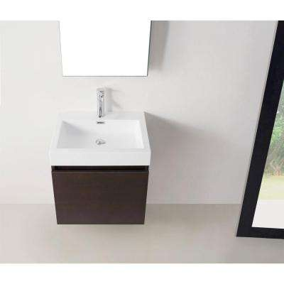 Zuri 24 in. W Bath Vanity in Wenge with Polymarble Vanity Top in White with Square Basin and Mirror and Faucet