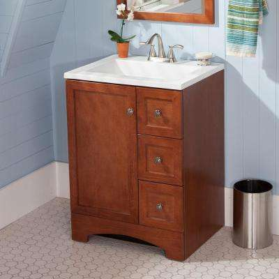 Lancaster 24 in. W x 19 in. D Bathroom Vanity in Amber with Cultured Marble White Vanity Top