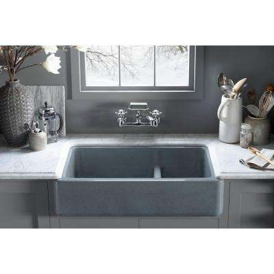 Whitehaven Smart Divide Farmhouse Apron-Front Cast Iron 36 in. Double Bowl Kitchen Sink in White