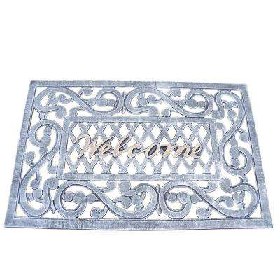 Welcome Cast Aluminum Doormat in Pewter