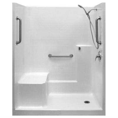 Classic-SA 33 in. x 60 in. x 77 in. 1-Piece Low Threshold Shower Stall in White, Shower Kit, Molded Seat, Right Drain