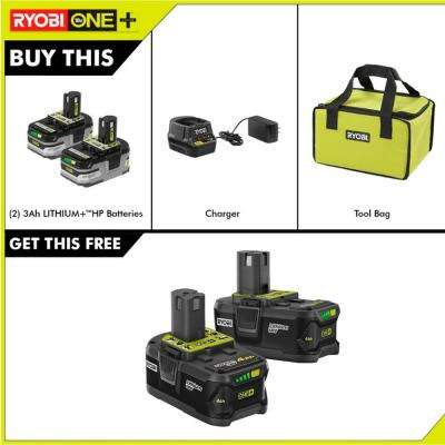 18-Volt ONE+ LITHIUM+ HP 3.0 Ah Battery (2-Pack), Charger and Bag with Bonus 18-Volt 4.0 Ah Lithium-Ion Battery (2-Pack)