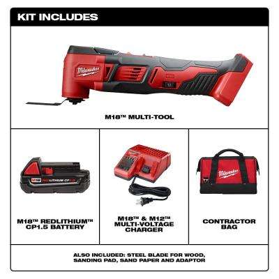 M18 18-Volt Lithium-Ion Cordless Oscillating Multi-Tool Kit with one 1.5 Ah Battery, Accessories, Charger