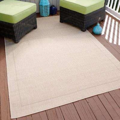 Solid Beige 5 ft. x 8 ft. Indoor/Outdoor Area Rug