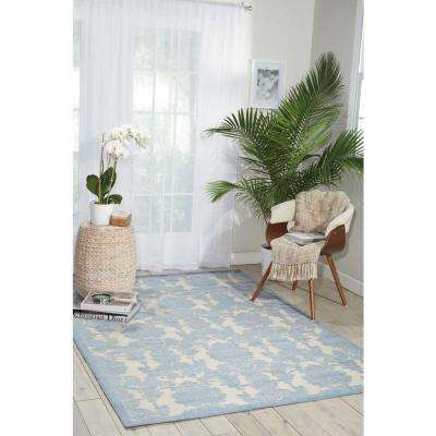 Graphic Illusions Ivory/Light Blue 5 ft. x 7 ft. Area Rug