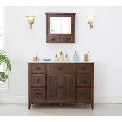 Artisan 48 in. W Vanity in Dark Oak with Vanity Top in Natural White with White Sink
