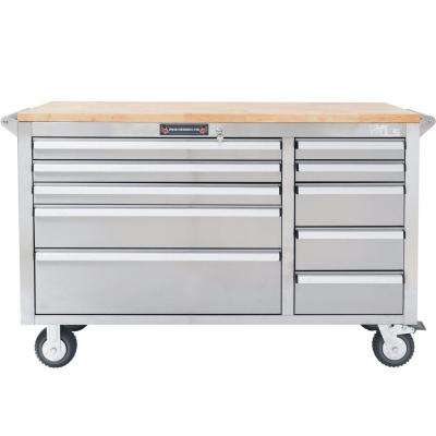 56 in. 10-Drawer Tool Chest with Wooden Counter Top, Stainless Steel