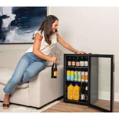 19 in. 126 (12 oz) Can Freestanding Beverage Cooler Fridge with Adjustable Shelves - Stainless Steel