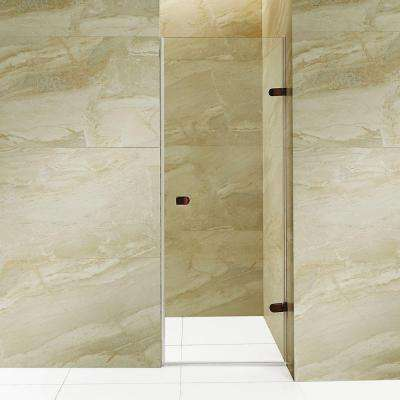 Tempo 28.5 in. x 70.625 in. Frameless Pivot Shower Door with Hardware in Oil Rubbed Bronze and Clear Glass