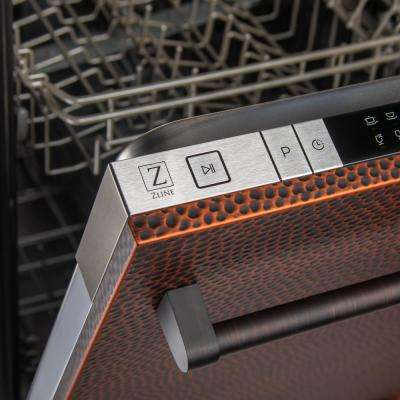 24 in. Top Control Dishwasher in Hand-Hammered Copper with Stainless Steel Tub and Traditional Style Handle