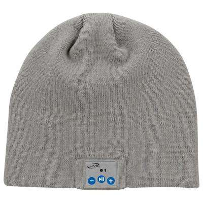 Wireless Bluetooth Knit Beanie Hat with Built-In Headphones Mic, Grey
