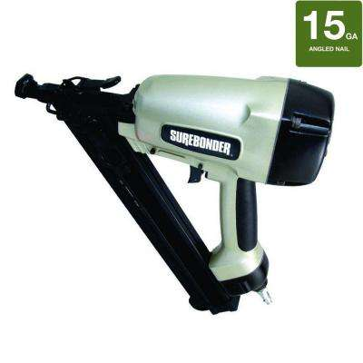 Pneumatic 2-1/2 in. x 15-Gauge Angled Nailer with Carrying Case