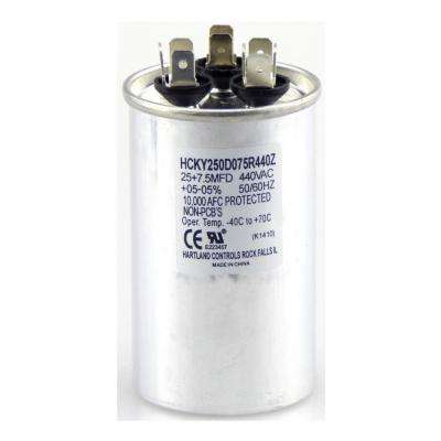 440-Volt 25/7.5 MFD Dual Rated Motor Run Round Capacitor