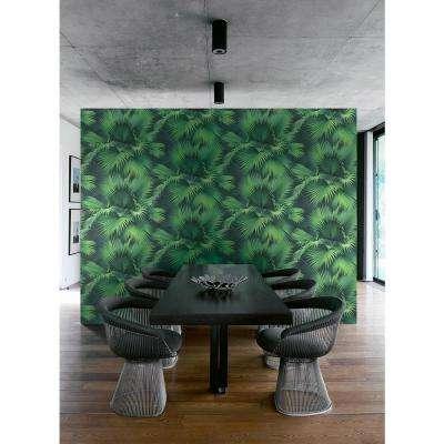 Endless Summer Dark Green Palm Wallpaper