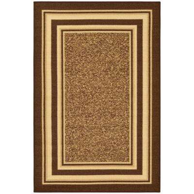 Ottohome Collection Contemporary Bordered Design Brown 3 ft. 3 in. x 5 ft. Area Rug