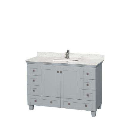 Acclaim 48 in. W x 22 in. D Vanity in Oyster Gray with Marble Vanity Top in Carrera White with White Basin