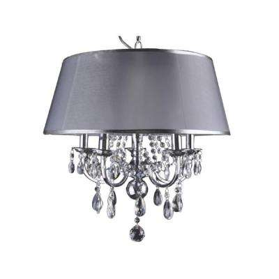 5-Light Chrome Chandelier with Silver Fabric Shade