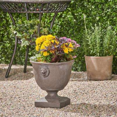 Simba 14 in. x 12.75 in. Antique Grey Lightweight Concrete Outdoor Garden Urn Planter with Lionhead Accents