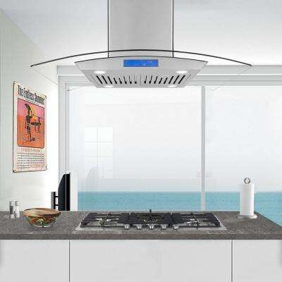 36 in. Ducted Island Range Hood in Stainless Steel with LED Lighting and Permanent Filters