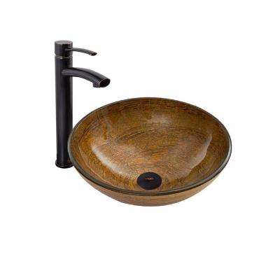 Vessel Sink in Cappuccino Swirl and Milo Faucet Set in Antique Rubbed Bronze
