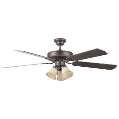 Tutor 52 in. Oil Rubbed Bronze Ceiling Fan with Light Kit and 5 Blades