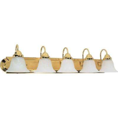 Sophrosyne 5-Light Polished Brass Bath Vanity Light with Alabaster Glass