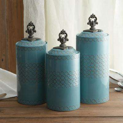 3-Piece Blue Ceramic Canister Set with Lid