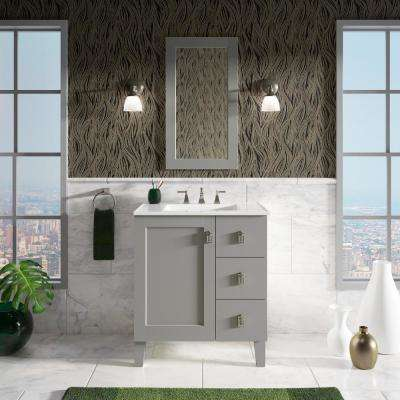 Poplin 30 in. W Vanity in Mohair Grey with Vitreous China Vanity Top in White Impressions with White Basin