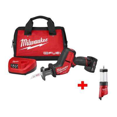 M12 FUEL 12-Volt Lithium-Ion Brushless HACKZALL Reciprocating Saw Kit with Free M12 LED Lantern