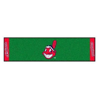 MLB Cleveland Indians 1 ft. 6 in. x 6 ft. Indoor 1-Hole Golf Practice Putting Green
