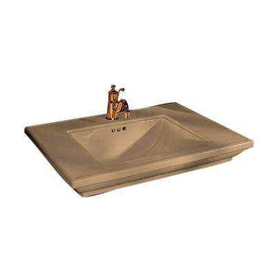 Memoirs 5 in. Ceramic Pedestal Sink Basin in Mexican Sand with Overflow Drain