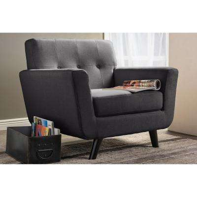 Damien Scandinavian Gray Fabric Upholstered Accent Chair