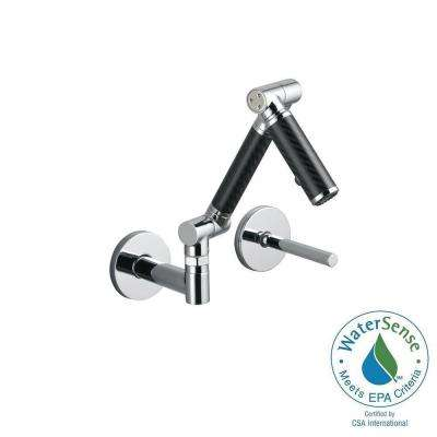 Karbon Single-Handle Wall Mount Bathroom Faucet with Mid-Arc and Black Tube in Polished Chrome