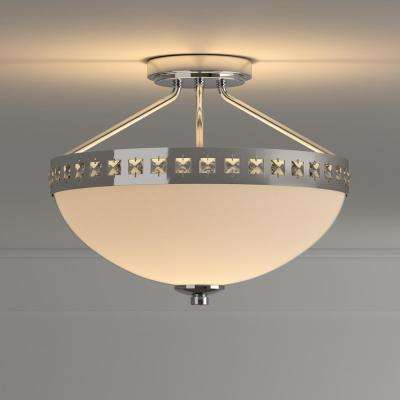 13.6 in. 2-Light Polished Chrome Semi-Flush Mount with Frosted Glass Shade