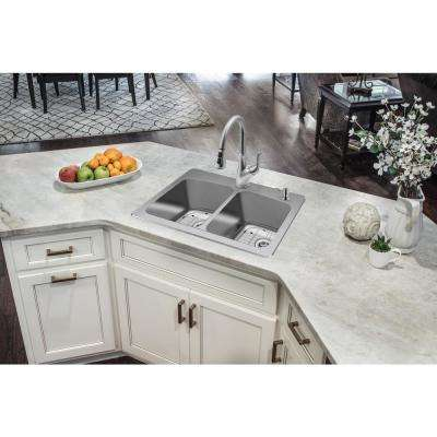 All-in-One Dual Mount 18-Gauge Stainless Steel 33 in. 2-Hole 50/50 Double Bowl Kitchen Sink with Pull-Out Kitchen Faucet